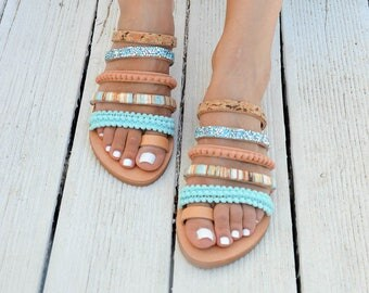 Greek Leather Sandals, Gladiator Sandals, Strappy Sandals, Toe Ring Sandals, Summer Shoes made in Greece.