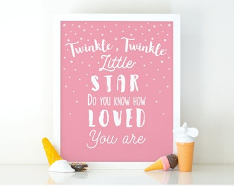 Twinkle Twinkle Little Star, Nursery Print, Printable Art, Typography print, Girls room decor, Nursery Decor, Instant Download, Digital File