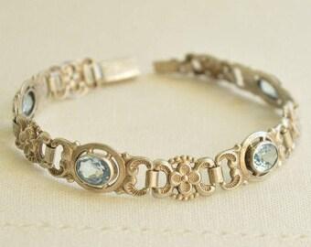 Edwardian Blue TOPAZ Silver 835 Signed Floral BRACELET, Antique Bracelet