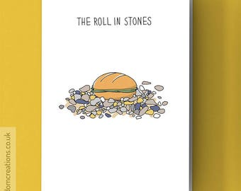 Rolling Stones Card - The Roll In Stones - Funny music pun, blank greeting card
