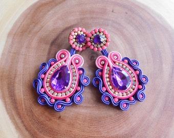 Soutache| Soutache Earrings| Soutache stud Earrings| Stud Earrings| Long Earrings| Long Soutache Earrings| Bridesmaids Earrings| Colorful