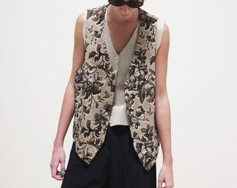 sartorial VEST// tailor GILET  // flower patterned //  made in italy - one size