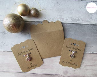 First Christmas as Mr and Mrs, Last Christmas as Mr and Miss, Christmas Charm, Christmas Card, Gift for Her, Stocking Filler, Christmas