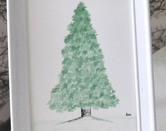 Fir Tree Painting: original and framed tree watercolour gift, framed painting, spruce, fir, pine, white wood, can be personalised!