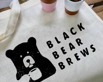 Cotton canvas tote bag / black bear brews print / cotton / screenprint / high quality / women men unixex / navy black natural red