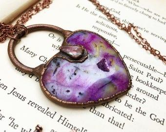 Purple Heart Stone Necklace, Purple Heart Necklace, Purple Agate Necklace, Agate Druzy Necklace, Purple Druzy Necklace Copper Heart Necklace