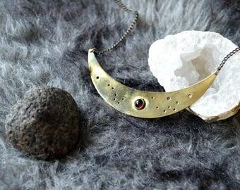 Blut-Mond - Messingkette mit Granat