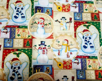 "Christmas theme cotton fabric snowmen Beautiful with gold accents 25""L 44"" W"