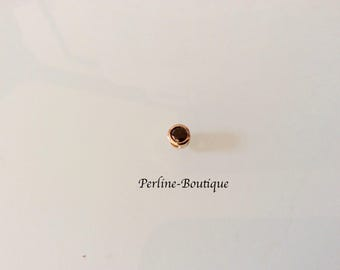 Bead/charm 5mm gold/cubic zirconia
