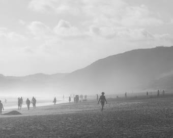 Sea mist & sun wide panorama of beach black and white wall art | fine art photography