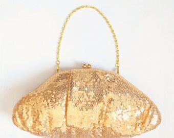 Vintage Gold Spangle Clutch Evening Bag / Handbag with Optional Chain Handle in two lengths