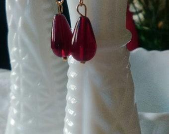 Ruby Red Teardrop Earrings