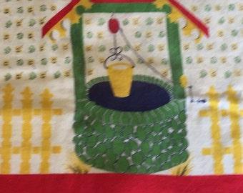 Vintage Feedsack Wishing Well Fabric