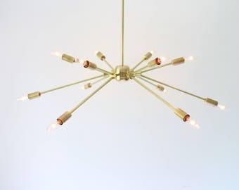 12 arm brass sputnik chandelier large modern atomic starburst pendant lighting fixture bulbs included - Starburst Chandelier