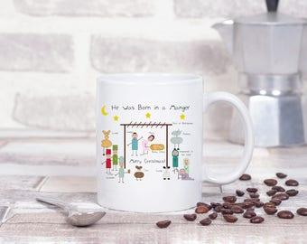 Nativity mug with matching gift box, coffee cup, religious gift, nativity coffee mug, unique gift, teacher gift, Christmas mug