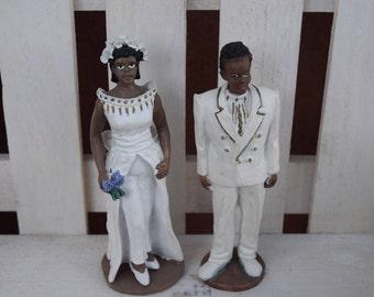 Vintage Black Bride and Groom Cake Topper