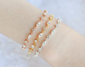 Bridal Bracelet, Rose Gold Wedding Bracelet, Crystal Tennis Bracelet, Wedding Bridal Jewelry, Simple Bracelet, Bridesmaid Bracelet, BECKY
