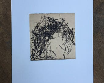 CIJ SALE  - 50% OFF. use code { CIJSALE50} Intaglio. Abstract Etching Print Brown and tan Colors:You Turn The Screws 2. unframed