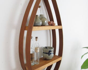 mid century teardrop shelf,mid century modern shelf,bentwood shelf, modern shelf,danish modern shelf,wall shelf,hanging shelf