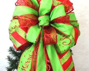 Red and Green Bow, Christmas Bow, Tree Topper Bow, Wreath Bow
