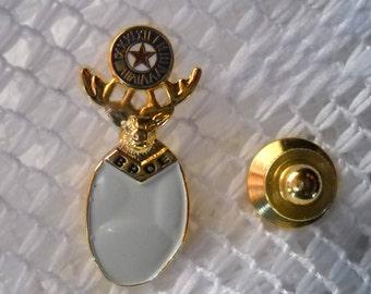 Vintage BPOE Elks Tie Tack, Enamel and Gold Metal Tie Tack, Elk Lapel Pin, Order of Elks Gift Pin, Vintage Elk Jewelry