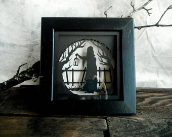 Halloween Decor. 3D Cut Paper Little Red Riding Hood Shadowbox. In Black and Cream.
