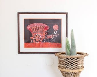 Vintage Framed Tapestry Indian Textile Framed Artwork Caravan Boho Home Decor