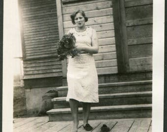 Vintage Photo of Woman with One Shoe Off 1940's, Original Found Photo, Vernacular Photography
