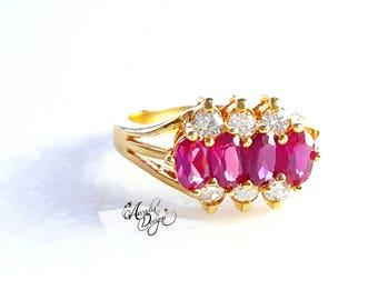 Garnet Gemstone and Crystal Golden Ring. January Birthstone Red Stone Jewelry Art Deco Modern Gem Ring | Bridal Accessories Bridesmaid Gift
