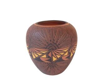 Exquisite Large Acoma Polychrome Pot. Pueblo Pottery Vase. Native American Signed Pot. Hand Painted Clay Pot Ceramic Vase. Geometric Pottery