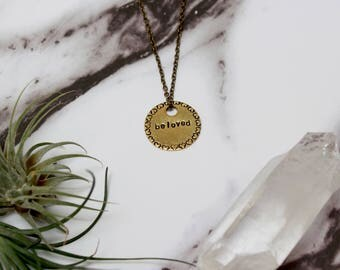 Beloved Necklace // Heart Shape Stamped Pendant Necklace // Brass Circle Design // Custom Stamped Necklace // Gift Idea // Love Necklace