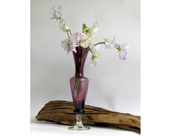 Victorian amethyst purple blown glass bud vase with clear twisted stem Italian Empoli with fluted edge vintage art glass elegant and stylish