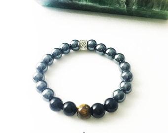 Hematite Black Onyx Tiger's Eye Bracelet Gemstone 8mm Bead Bracelet Spiritual Jewelry Yoga Jewelry Healing Crystals