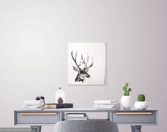 Deer Wall Art, PRINTABLE, Digital Download, Black White Wall Art, Ink Deer