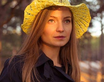 Yellow Knitted Cottonwool Summer Hat