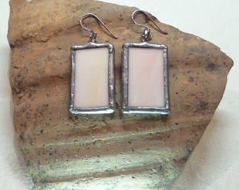 Handmade Dangle Earrings. 925 Sterling Silver Hooks, Stained Glass, Tiffany Technique. Unique Gift!