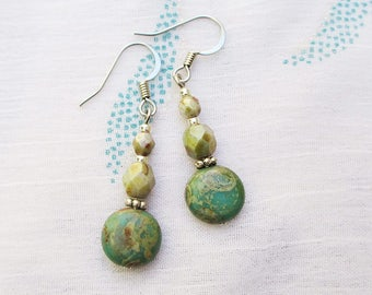 Aqua and white picasso finish earrings