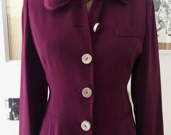 Parisian Made Berry Color Wool Princess Jacket with Removable Rabbit Fur Collar and Novelty Buttons Size 4 / 6 small/ medium