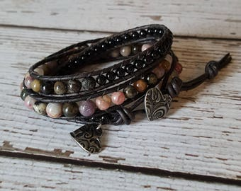 Watermelon Tourmaline & Black Onyx Wrap Bracelet, Charm Bracelet, Gemstone Jewelry, Bohemian Jewelry, Yoga Jewelry, x3 Wrap Bracelet Beaded