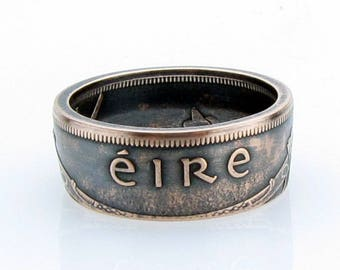 Irish 1 Pingin, EIRE, Coin Ring, Ireland, Copper, Bronze, Unique Ring, Coin Jewelry, Mens, Band, Man Ring, Statement, band
