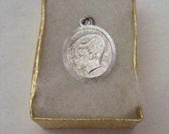Sterling Oval Charm of Silhouette of Boy