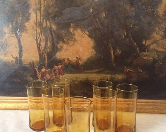 Set of Seven Vintage Amber Glass Tumblers