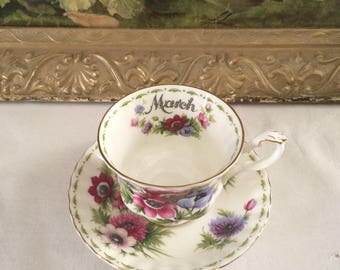 Royal Albert March Anemones TeaCup with Matching Saucer