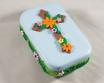 Polymer Clay Flower Cross Musicbox
