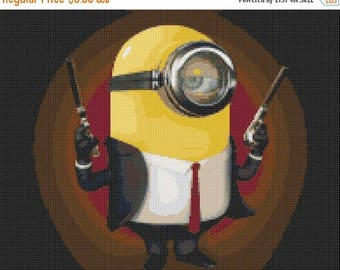 Minion Cross Stitch Pattern Hitman cross stitch minion pattern needlework - 194 x 155 stitches - INSTANT Download - B829