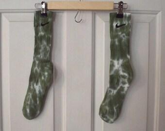 Green tie dye nike socks