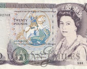 Twenty Pound Note. Bank of England  G.M.Gill 1988