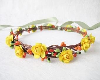 Wedding Floral Crown, Mustard Color Flower Headband, Floral Head Wreath, Wedding Headband, Bridesmaid Flower Crown, Flower Girls Headband