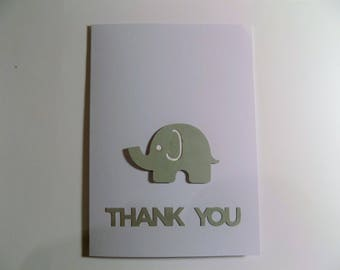 Elephant Thank You Baby Card, Baby Shower Card, Welcome Baby Card, Baby Thank You Card, Thank You Baby Card, Baby Announcement