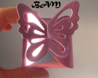 set of 5 boxes pink butterfly satin to assemble yourself